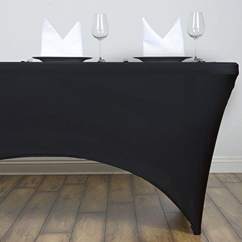 - LinenTablecloth 4 ft. Rectangular Stretch Tablecloth Black