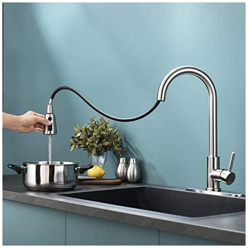 Kitchen VALISY Lead-Free Modern Commercial Single Hole Pull Down Brushed Nickel Kitchen Sink Faucet,1 Handle High-Arc Tall… modern sink faucets