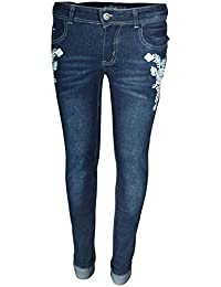 Girls' Denim Jeans with Embroidered Flower Designs