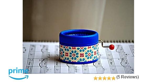 Caja de música manual azul brillante con la melodía Clair de ...