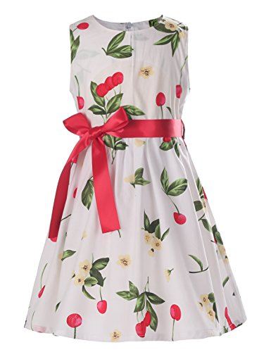 Floral Girls Dresses Size 6 Spring Dresses Clothes,Cherry,5-6 Years(Size 130)