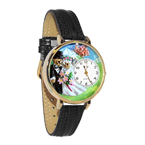 Teddy Bear Wedding White Leather And Goldtone Watch #WG-G1340002 by Whimsical Watches