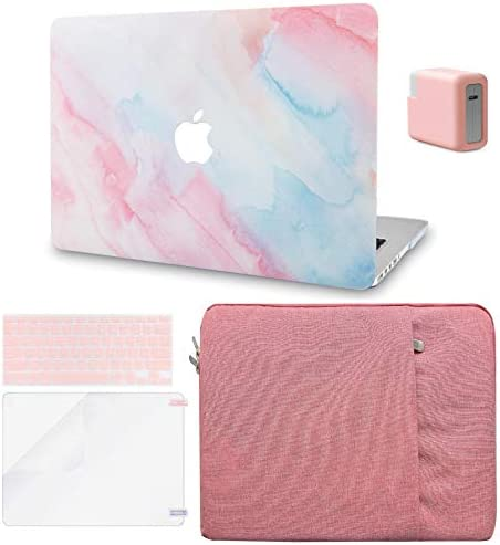 LuvCase 5in1 Laptop Case for MacGuide Air 13 Inch (2020) A2337 M1/A2179 Retina Display (Touch ID) Hard Shell Cover,Sleeve,Charger Case,Keyboard Cover,Screen Protector (Pale Pink Mist)