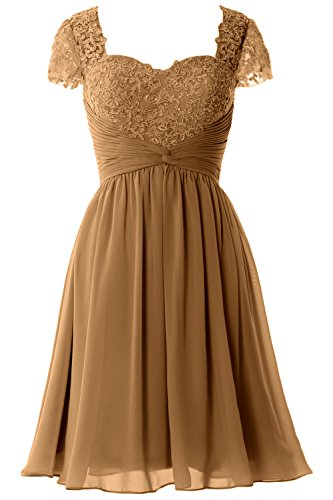 MACloth Women Cap Sleeve Cocktail Dress Short Lace Chiffon Mother of Bride Dress Marrón
