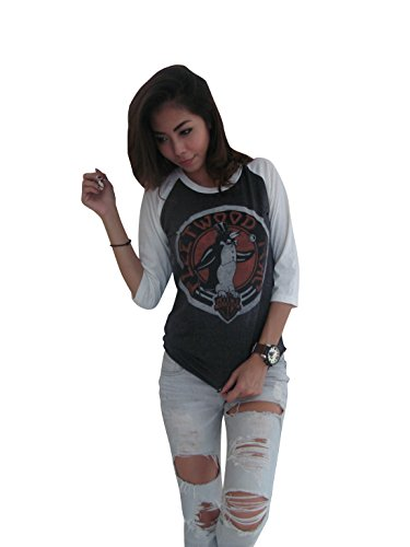 [Bunny Brand Women's Fleetwood Mac Penguin Music Rock Band Raglan T-Shirt (Large, Gray)] (Womens Rock Band)