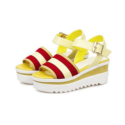 AllhqFashion Women's Buckle Open Toe Kitten-Heels Blend Materials Assorted Color Sandals Yellow ZMmskjl9