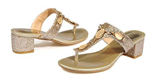 Laruise Women's Chunky Flip-flop Sandal Gold 3E7SKLLeC