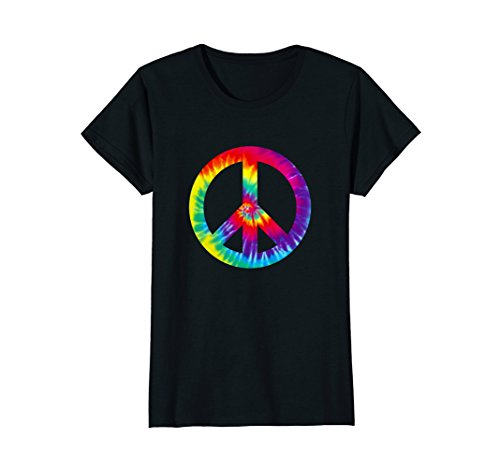 Womens Peace Sign 60s 70s T Shirt Tie Dye Hippie Costume Large Black