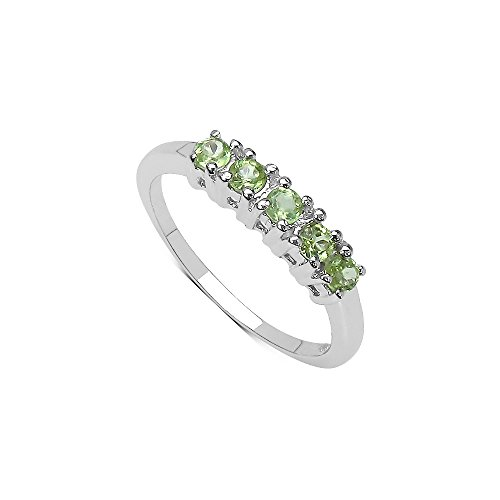 Genuine Ring Stone Peridot (Women's Ring 925 Sterling Silver Genuine Gemstone: Peridot)