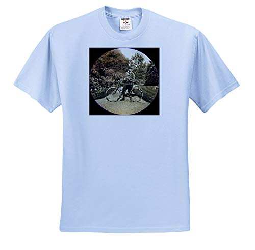Scenes from The Past - Magic Lantern - Vintage Edwardian English Gentleman with Bicycle and Pipe Circa 1910 - T-Shirts - Toddler Light-Blue-T-Shirt (2T) (ts_300288_63)