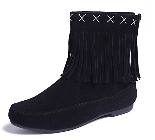 AgeeMi Shoes Women's Slip On Faux Suede Fringed Flat Ankle Comfort Boots Shoes Black sh42I