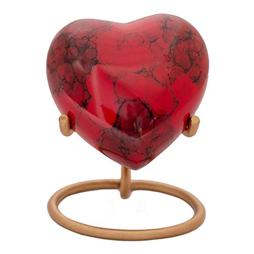 (SolaceForever Red Heart Keepsake Urn - Mini Ash Urn with Free Premium Velvet Box & Display Stand - Small Handcrafted Cremation Urn for Ashes - Tribute to Your Loved One - Perfect for Adults & Infants)