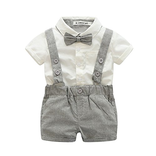 Zhengpin 2PCS Toddler Baby Boy Summer Set T-shirts Tops+Bib Pant Overalls Outfits Clothes (70(0-6Months), Gray)]()