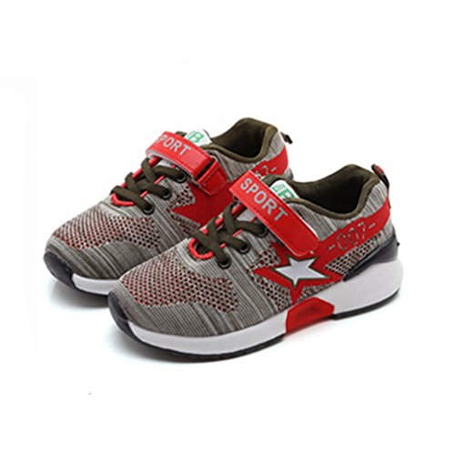 Unisex-Kinder Sneaker Laufschuhe Hohl Atmungsaktiv Klettverschluss Leuchtend Sportschuhe Ultraleicht Streifen Schick Schuhe Grau 32 FYvacVQ0