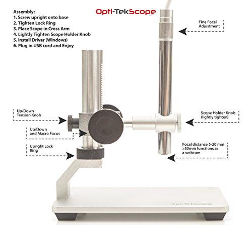 Opti-Tekscope Digital USB Microscope Camera- Advanced CMOS Sensor, True High Definition Macro 200x Zoom Imaging -1600 x 1200, Video, Superior Industrial Quality Base, 8 LED, Windows Mac Linux Chrome!