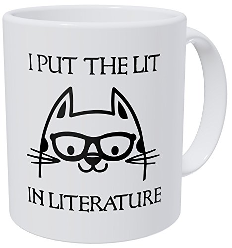 Wampumtuk Shakespeare Cat And Glases I Put The Lit In Literature Teacher 11 Ounces Funny Coffee Mug