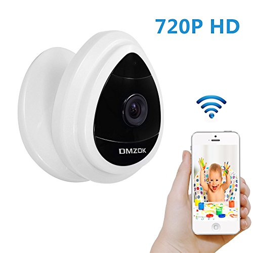 DMZOK 720P WiFi Camera, Baby Monitor, Pet Camera, Built-in Microphone, One- Way Audio, Easy Setup, Remote View on Mobile App(White - Day Vision Only)
