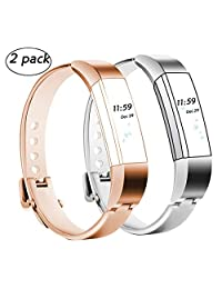 Replacement Bands for Fitbit Alta, Classy Watch Accessory Bracelet for Fitbit Alta HR/Fitbit Alta Bands,Silver,Rose Gold Small(5.5-6.7'')