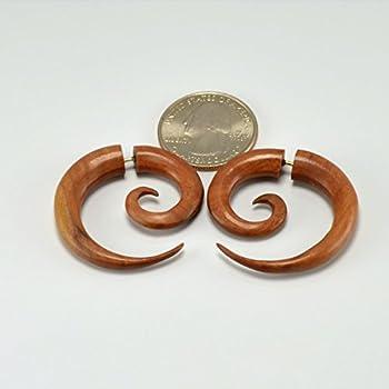 Fake Gauges – Small Spiral Earrings – Sabo Wood - Faux Gauges