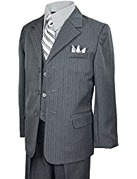 Boys Pinstripe Suit with Matching Tie Size 2-20 Grey