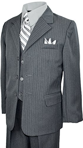 Boys Pinstripe Suit with Matching Tie Size 2-20