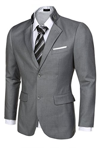 Traditional Mens Suit Coat (Coofandy Men's Casual Dress Suit Slim Fit Stylish Blazer Coats Jackets, Size Large, Gray)