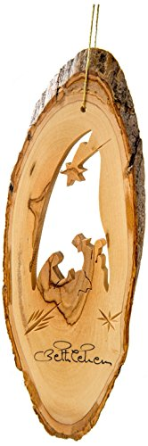 Earthwood B-10 Olive Wood Nativity with Ornament