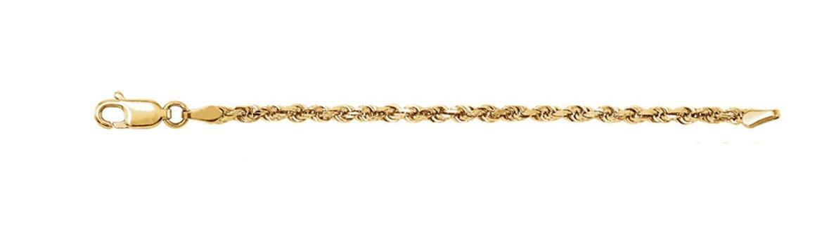 14k Yellow Gold 2.5mm Diamond-Cut Rope Chain Bracelet, 7''