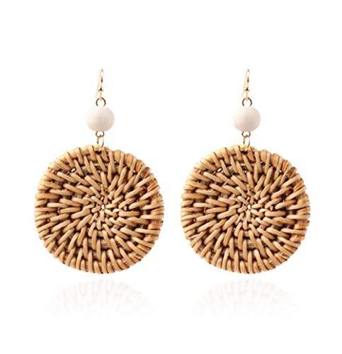 Hogadget Women Straw Handmade Rattan Weave Earrings Round Circle Drop Dangle Earring ()