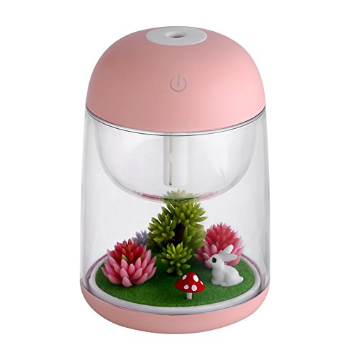 (dezirZJjx Mini Micro Landscape,Creative Micro Landscape USB Humidifier Air Purifier Colorful LED Night Light - Pink)