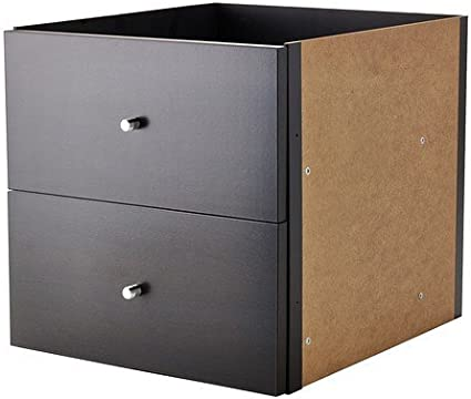 Ikea Kallax - Inserte con 2 cajones, Negro-marrón - 33x33 cm: Amazon.es: Hogar