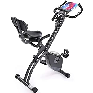 Well-Being-Matters 41JBLVr2aRL._SS300_ Exercise Bike Stationary Bike Foldable Magnetic Upright Recumbent Portable Fitness Cycle with Arm Resistance Bands Extra-large Adjustable Seat Pulse 3-in-1 Cycling Indoor Trainer for Home