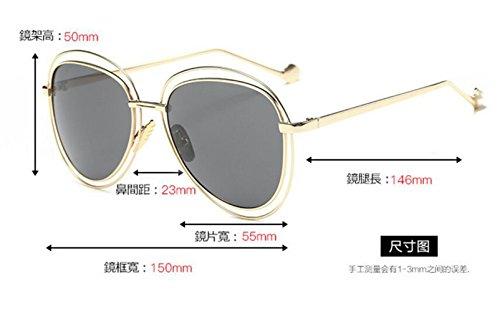 de gafas gafas piece LSHGYJ doble de sol gafas GLSYJ frame personalidad Retro blue de ice círculo moda sol Gold XXpqYw