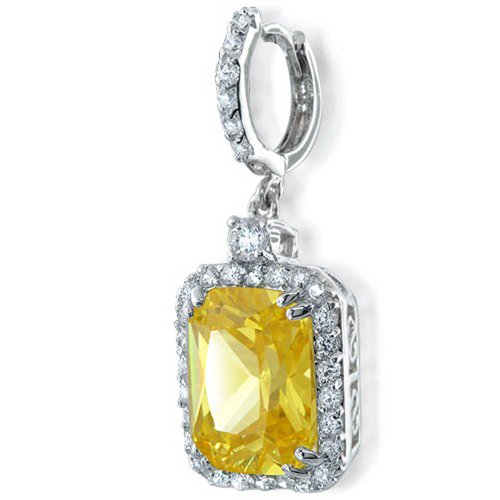 12 CTW Square Drop Earrings Simulated Citrine CZ Emerald Cut Halo Rhodium Plated Brass by Bling Jewelry (Image #2)