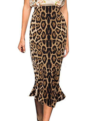 (VFSHOW Womens Brown Leopard Print Vintage High Waist Work Business Mermaid Midi Pencil Skirt 2852 Leo XS)
