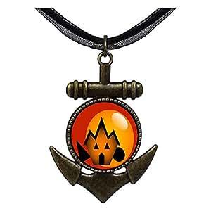 Chicforest Bronze Retro Style Halloween Jack O lantern Anchor Pendant