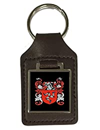 Duffy Family Crest Surname Coat of Arms Brown Leather Keyring Engraved