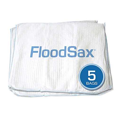 "FloodSax Sandless Sandbag, Water Absorbent Flood Barrier, White, 19""L x 20""W (5 Pack)"