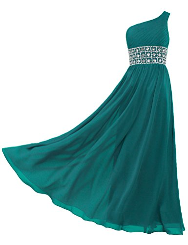 Gowns Prom Long Evening Shoulder Dresses ANTS Teal Women Chiffon One s 4PPzq1