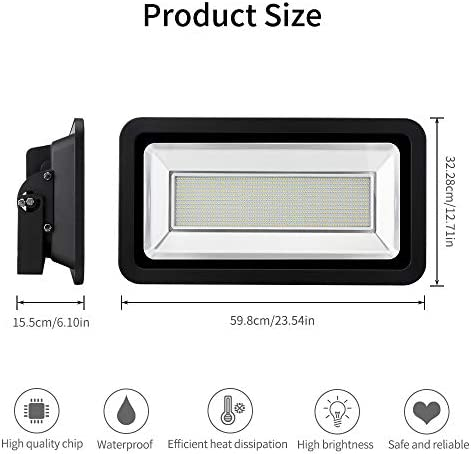 500W LED Flood Lights, 50000LM Super Bright Work Lights, Cold White 2800-3200K, Outdoor and Indoor IP65 Waterproof Wall Lights Security Light for Garage, Garden, Lawn, Yard by Coolkun