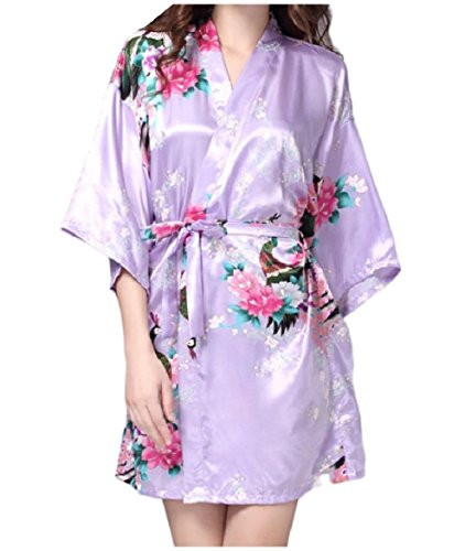 (SportsX Women's Chemise Charmeuse Plus-Size Printed Pajama Set with Robe Light Purple XS)