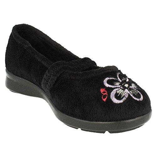 Ladies Easy B Slip On Slippers Amanda - Black - UK Size 3 V - EU Size 35.5 - US Size 5 vlmy7V