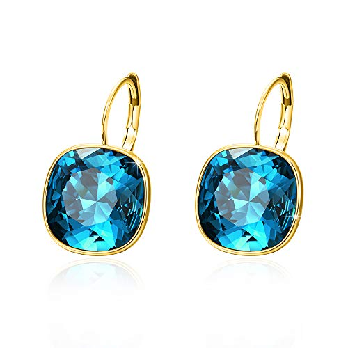 Xuping Halloween Gorgeous Fashion Crystals from Swarovski Huggies Hoop Earrings Women Girl Party Jewelry Gifts (14K+Indicolite)]()
