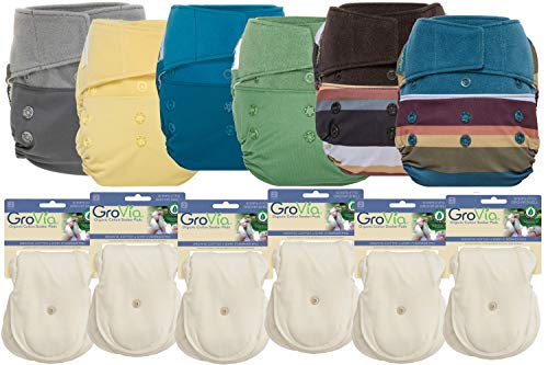 GroVia Hybrid Part Time Package: 6 Shells + 12 Organic Cotton Soaker Pads (Color Mix 9 - Hook & Loop)