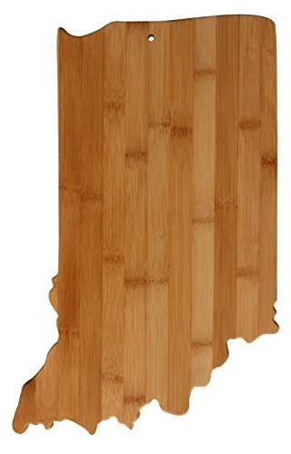(Real Bamboo Cutting and Serving Board, unique Indiana shaped board)