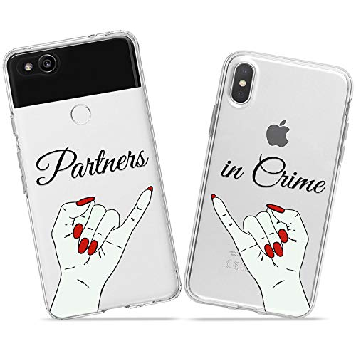 Wonder Wild Partners in Crime Couple Case iPhone Xs Max X Xr 10 8 Plus 7 6s 6 SE 5s 5 TPU Clear Gift Apple Phone Cover Print Protective Double Pack Silicone Friends Palms Pinky Girls Friends Matching]()