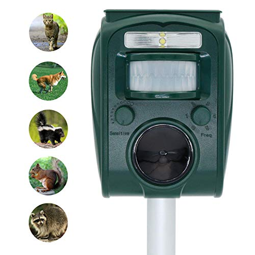 ZOVENCHI Ultrasonic Pest Repeller, Solar Powered Waterproof Outdoor Animal Repeller with Ultrasonic Sound, Motion Sensor and Flashing Light pest Repeller for Cats, Dogs, Squirrels, Moles, Rats