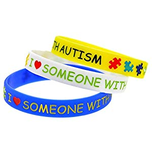 I Love Someone With Autism Awareness Silicone Bracelet Wristband by Mammoth Sales