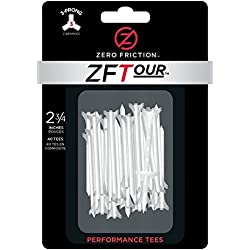 Zero Friction Tour 3-Prong Golf Tees (1-3/4 Inch, White, Pack of 20)