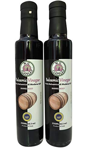 M.G. PAPPAS Balsamic Vinegar of Modena Barrel Aged Sweet Gourmet Syrup10 Year Old Aceto Balsamico di Modena Italian Pure No Preservatives No Colorants No Caramel Pack of 2-8.5 Fl Oz 250 ml ()